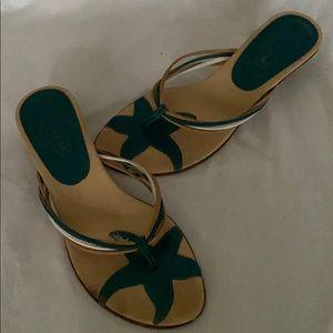 Coach kitty heel thong sandals 7 1/2
